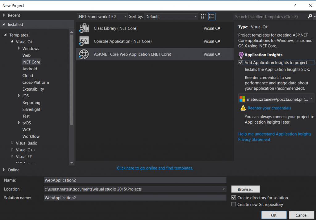 Widok na dodanie solucji z projektem .net core w Visual studio 2015