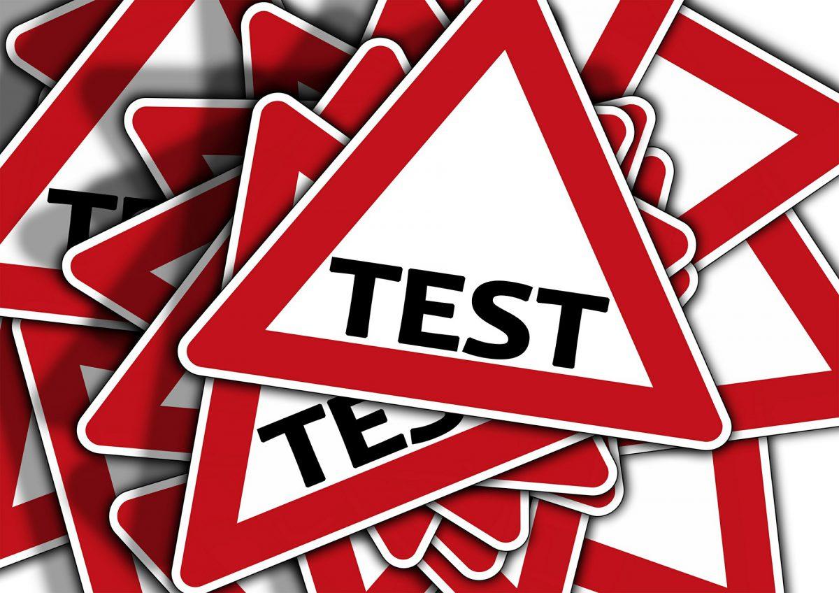 Znak ostrzegawczy Testy